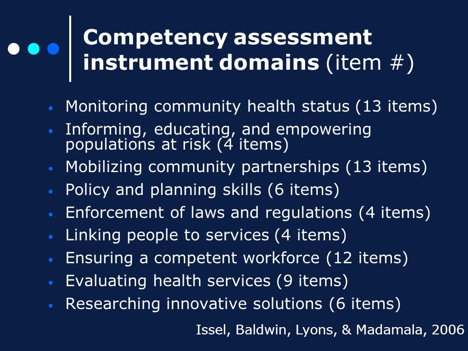 Competency assessment instrument domains (item #) Monitoring community health status (13 items) Informing, educating, and empowering populations at ri
