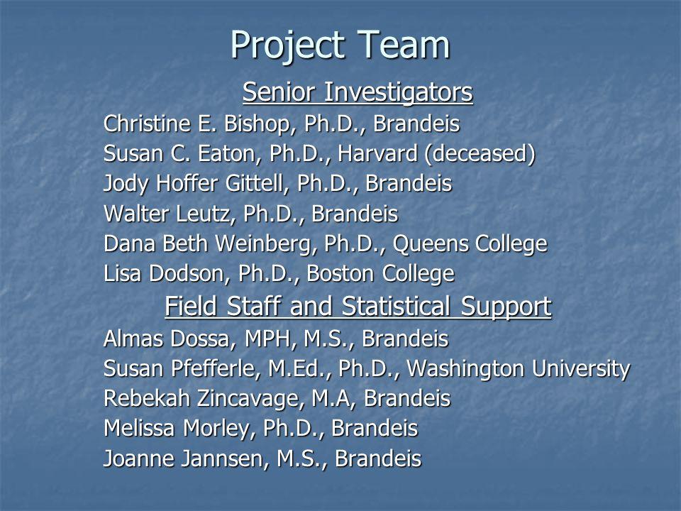 Project Team Senior Investigators Christine E. Bishop, Ph.D., Brandeis Susan C. Eaton, Ph.D., Harvard (deceased) Jody Hoffer Gittell, Ph.D., Brandeis