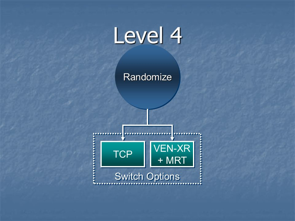 Level 4 RandomizeRandomize Switch Options TCP VEN-XR + MRT