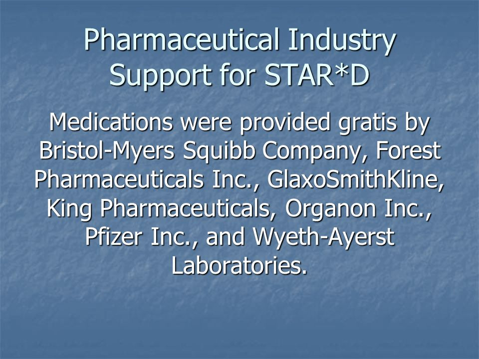 Pharmaceutical Industry Support for STAR*D Medications were provided gratis by Bristol-Myers Squibb Company, Forest Pharmaceuticals Inc., GlaxoSmithKline, King Pharmaceuticals, Organon Inc., Pfizer Inc., and Wyeth-Ayerst Laboratories.