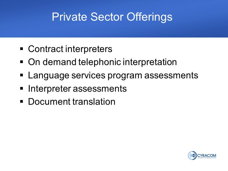 Contract interpreters On demand telephonic interpretation Language services program assessments Interpreter assessments Document translation Private Sector Offerings