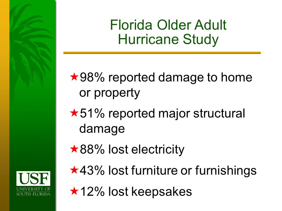 98% reported damage to home or property 51% reported major structural damage 88% lost electricity 43% lost furniture or furnishings 12% lost keepsakes