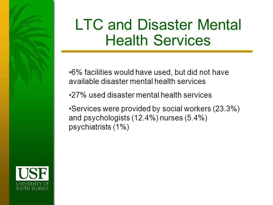 LTC and Disaster Mental Health Services 6% facilities would have used, but did not have available disaster mental health services 27% used disaster mental health services Services were provided by social workers (23.3%) and psychologists (12.4%) nurses (5.4%) psychiatrists (1%)