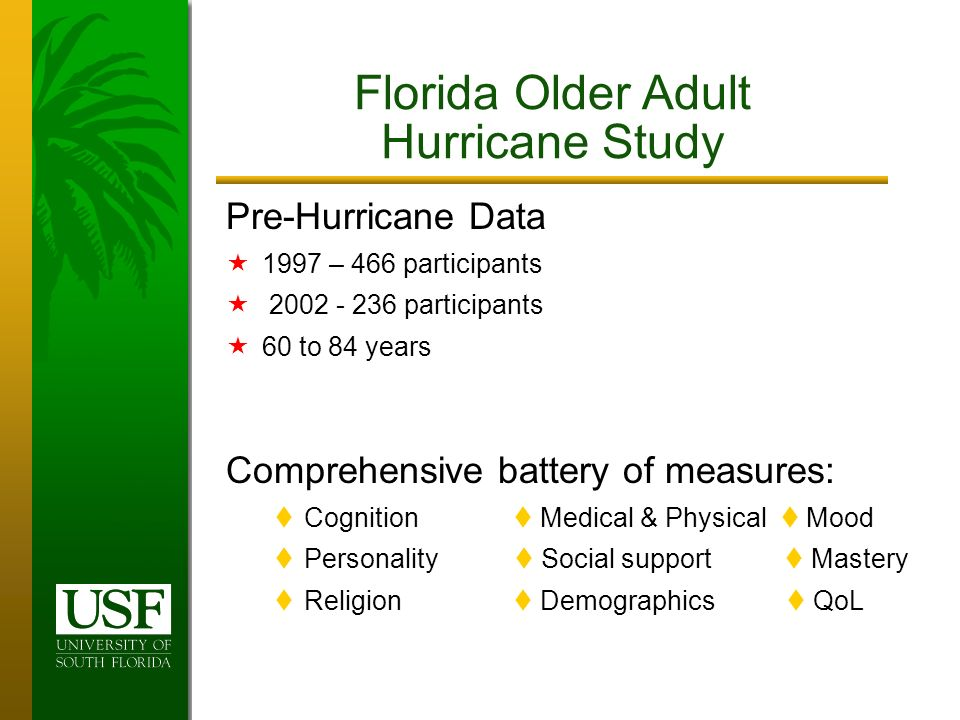 Pre-Hurricane Data 1997 – 466 participants 2002 - 236 participants 60 to 84 years Comprehensive battery of measures: Cognition Medical & Physical Mood Personality Social support Mastery Religion Demographics QoL Florida Older Adult Hurricane Study