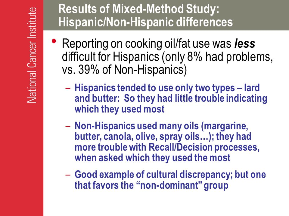 Results of Mixed-Method Study: Hispanic/Non-Hispanic differences Reporting on cooking oil/fat use was less difficult for Hispanics (only 8% had proble