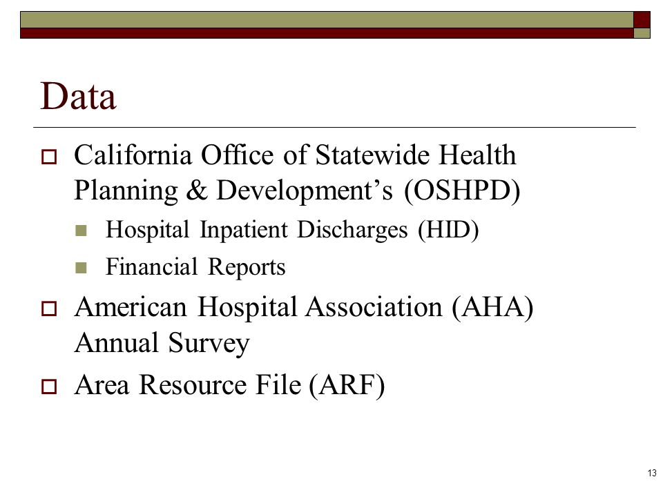 13 Data California Office of Statewide Health Planning & Developments (OSHPD) Hospital Inpatient Discharges (HID) Financial Reports American Hospital