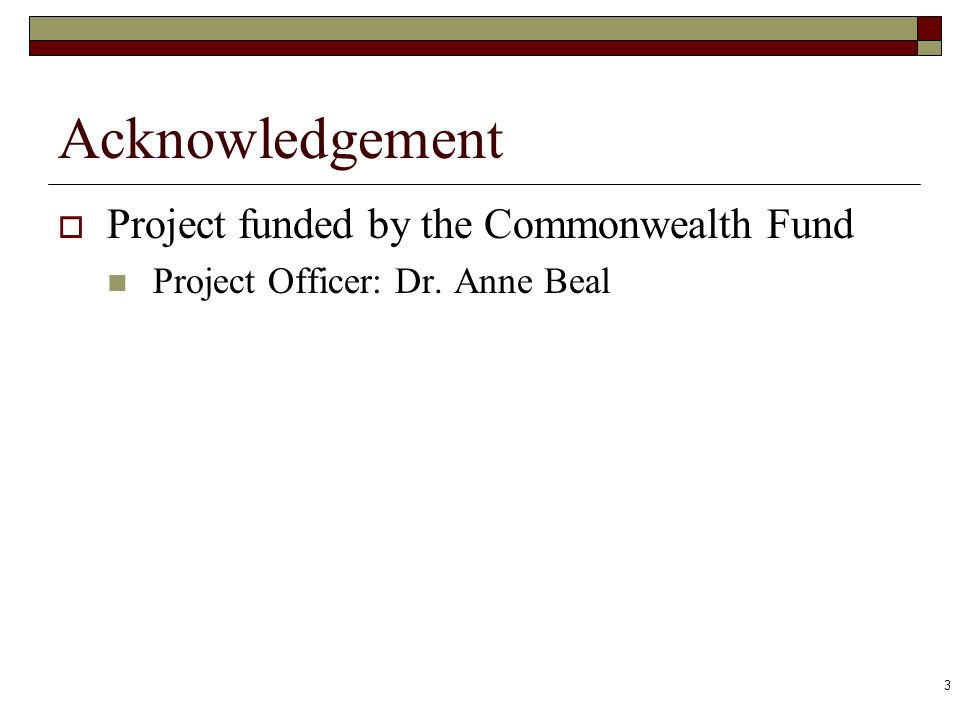 3 Acknowledgement Project funded by the Commonwealth Fund Project Officer: Dr. Anne Beal
