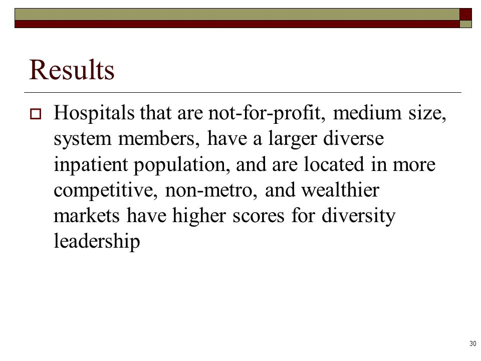 30 Results Hospitals that are not-for-profit, medium size, system members, have a larger diverse inpatient population, and are located in more competi