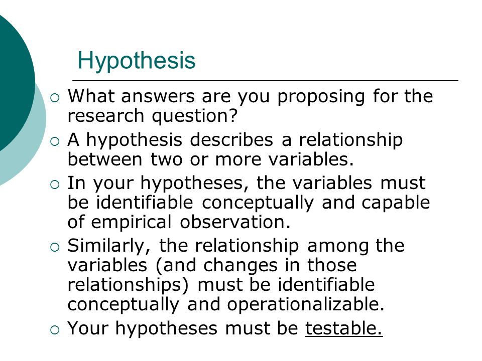 Hypothesis What answers are you proposing for the research question.