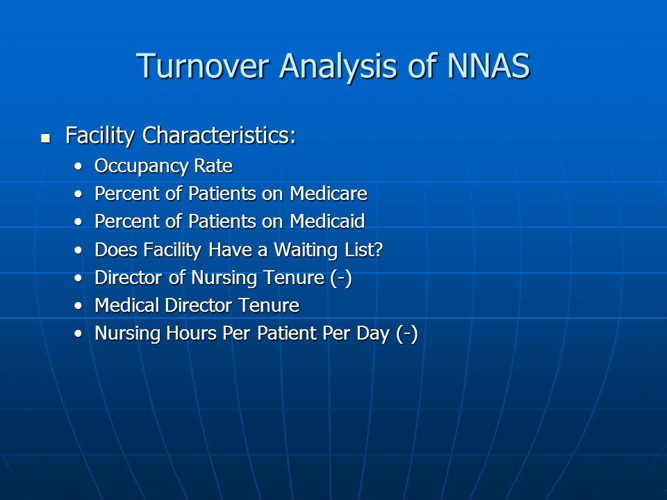 Turnover Analysis of NNAS Facility Characteristics: Facility Characteristics: Occupancy RateOccupancy Rate Percent of Patients on MedicarePercent of Patients on Medicare Percent of Patients on MedicaidPercent of Patients on Medicaid Does Facility Have a Waiting List Does Facility Have a Waiting List.