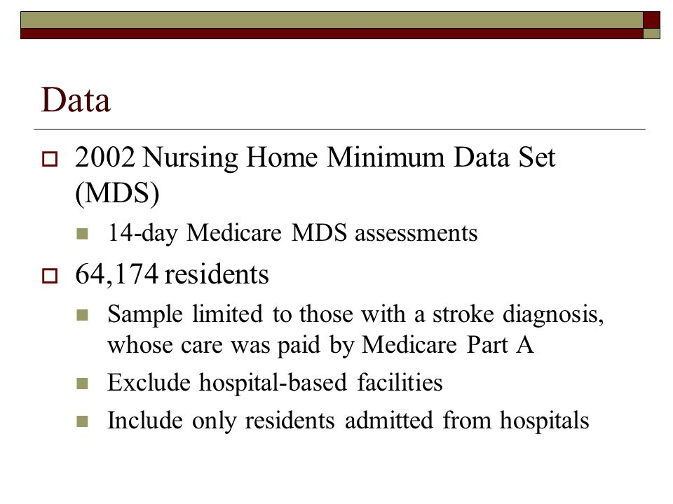 Data 2002 Nursing Home Minimum Data Set (MDS) 14-day Medicare MDS assessments 64,174 residents Sample limited to those with a stroke diagnosis, whose care was paid by Medicare Part A Exclude hospital-based facilities Include only residents admitted from hospitals