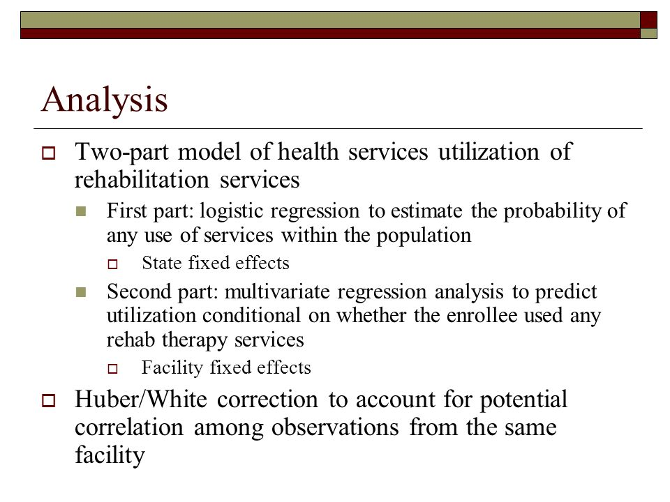 Analysis Two-part model of health services utilization of rehabilitation services First part: logistic regression to estimate the probability of any use of services within the population State fixed effects Second part: multivariate regression analysis to predict utilization conditional on whether the enrollee used any rehab therapy services Facility fixed effects Huber/White correction to account for potential correlation among observations from the same facility