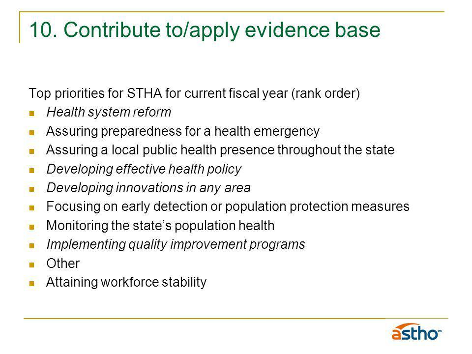 10. Contribute to/apply evidence base Top priorities for STHA for current fiscal year (rank order) Health system reform Assuring preparedness for a he