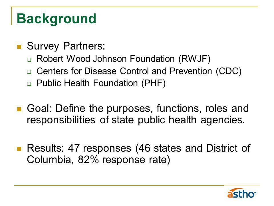 Background Survey Partners: Robert Wood Johnson Foundation (RWJF) Centers for Disease Control and Prevention (CDC) Public Health Foundation (PHF) Goal: Define the purposes, functions, roles and responsibilities of state public health agencies.