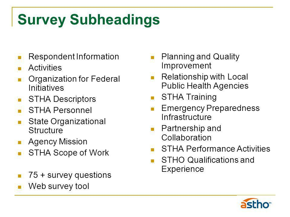 Survey Subheadings Respondent Information Activities Organization for Federal Initiatives STHA Descriptors STHA Personnel State Organizational Structure Agency Mission STHA Scope of Work 75 + survey questions Web survey tool Planning and Quality Improvement Relationship with Local Public Health Agencies STHA Training Emergency Preparedness Infrastructure Partnership and Collaboration STHA Performance Activities STHO Qualifications and Experience