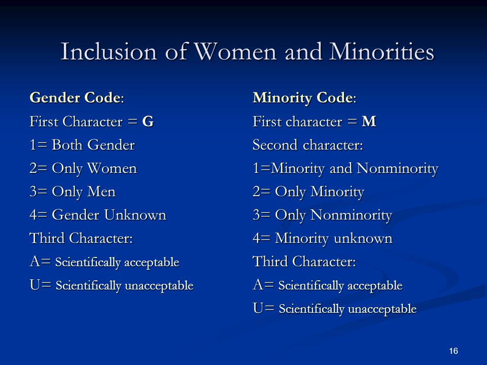 16 Inclusion of Women and Minorities Gender Code: First Character = G 1= Both Gender 2= Only Women 3= Only Men 4= Gender Unknown Third Character: A= S
