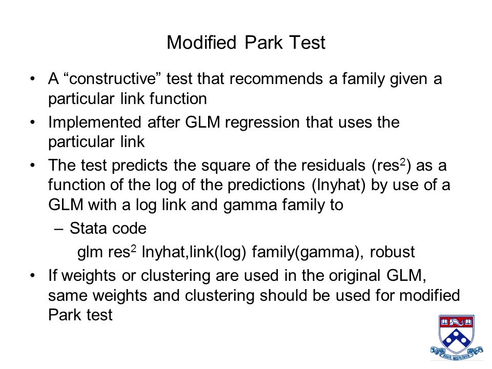 A constructive test that recommends a family given a particular link function Implemented after GLM regression that uses the particular link The test