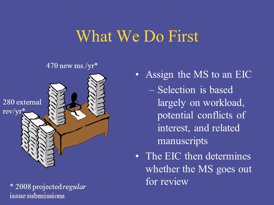 What We Do First Assign the MS to an EIC –Selection is based largely on workload, potential conflicts of interest, and related manuscripts The EIC then determines whether the MS goes out for review 470 new ms./yr* 280 external rev/yr* * 2008 projected regular issue submissions