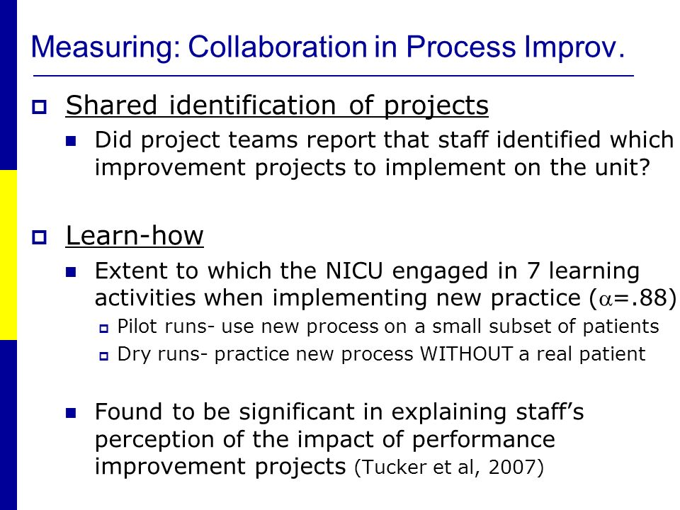 Shared identification of projects Did project teams report that staff identified which improvement projects to implement on the unit.