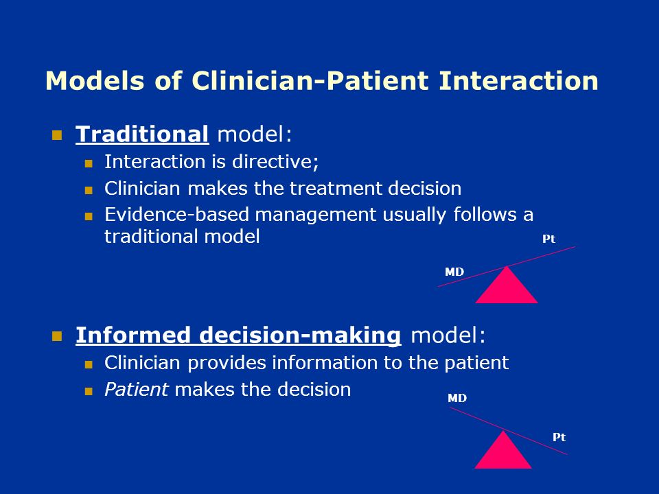 Shared decision-making model: Mutual exchange of information and treatment preferences between clinician & patient Both participate in treatment decisions Each brings unique knowledge to the interaction Hypothesis: Involving patients in treatment decisions should result in: Better adherence to treatment Better asthma control Greater patient satisfaction Pt MD