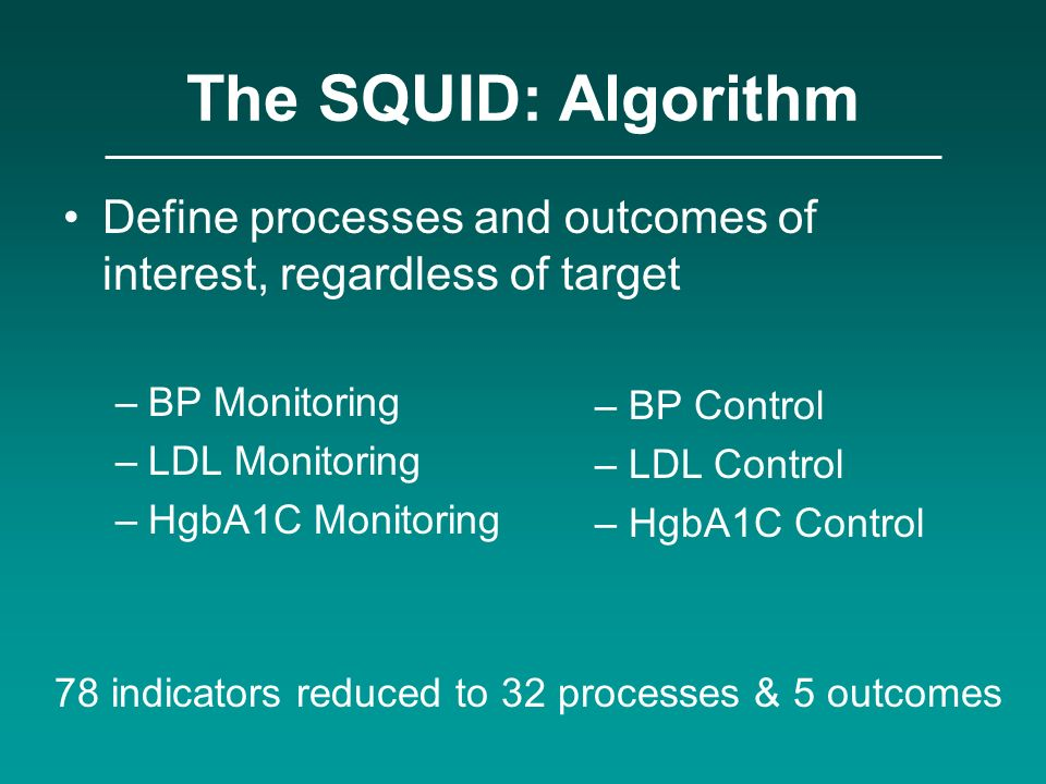 The SQUID: Algorithm Define processes and outcomes of interest, regardless of target –BP Monitoring –LDL Monitoring –HgbA1C Monitoring – BP Control –