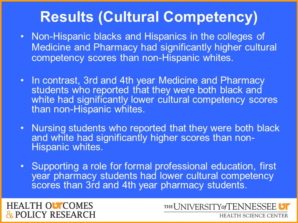 Results (Cultural Competency) Non-Hispanic blacks and Hispanics in the colleges of Medicine and Pharmacy had significantly higher cultural competency