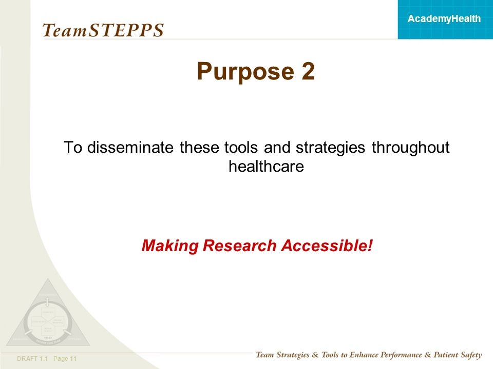 T EAM STEPPS 05.2 Mod 1 05.2 Page 11DRAFT 1.1 Page 11 AcademyHealth Purpose 2 To disseminate these tools and strategies throughout healthcare Making Research Accessible!