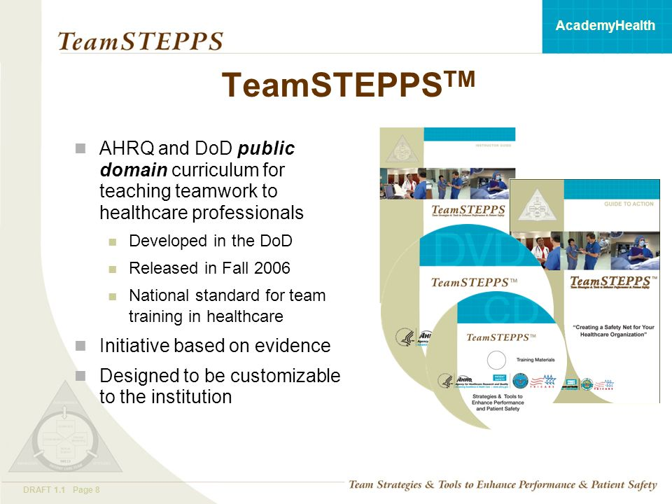 T EAM STEPPS 05.2 Mod 1 05.2 Page 8DRAFT 1.1 Page 8 AcademyHealth TeamSTEPPS TM AHRQ and DoD public domain curriculum for teaching teamwork to healthcare professionals Developed in the DoD Released in Fall 2006 National standard for team training in healthcare Initiative based on evidence Designed to be customizable to the institution