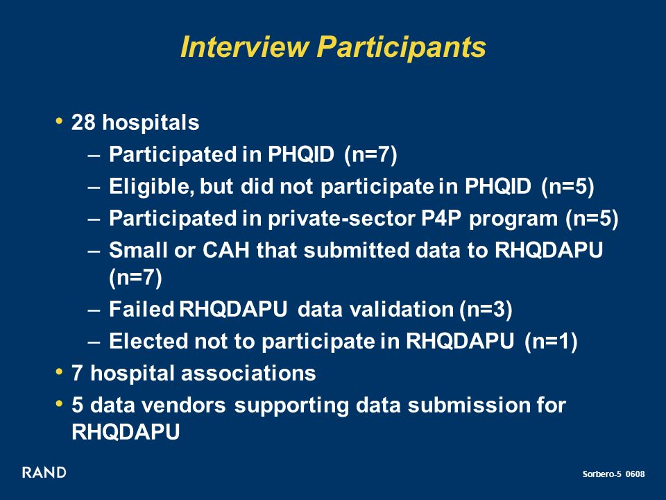 Sorbero-5 0608 Interview Participants 28 hospitals –Participated in PHQID (n=7) –Eligible, but did not participate in PHQID (n=5) –Participated in private-sector P4P program (n=5) –Small or CAH that submitted data to RHQDAPU (n=7) –Failed RHQDAPU data validation (n=3) –Elected not to participate in RHQDAPU (n=1) 7 hospital associations 5 data vendors supporting data submission for RHQDAPU