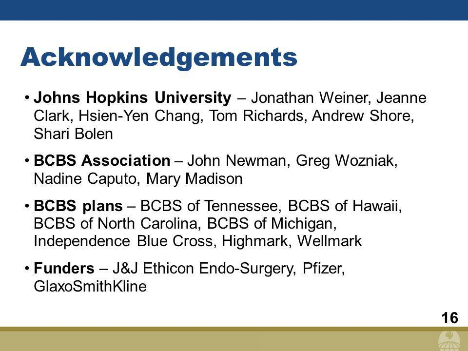 16 Acknowledgements Johns Hopkins University – Jonathan Weiner, Jeanne Clark, Hsien-Yen Chang, Tom Richards, Andrew Shore, Shari Bolen BCBS Association – John Newman, Greg Wozniak, Nadine Caputo, Mary Madison BCBS plans – BCBS of Tennessee, BCBS of Hawaii, BCBS of North Carolina, BCBS of Michigan, Independence Blue Cross, Highmark, Wellmark Funders – J&J Ethicon Endo-Surgery, Pfizer, GlaxoSmithKline