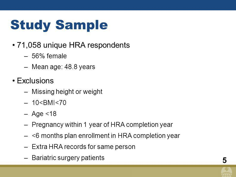 5 Study Sample 71,058 unique HRA respondents –56% female –Mean age: 48.8 years Exclusions –Missing height or weight –10<BMI<70 –Age <18 –Pregnancy within 1 year of HRA completion year –<6 months plan enrollment in HRA completion year –Extra HRA records for same person –Bariatric surgery patients