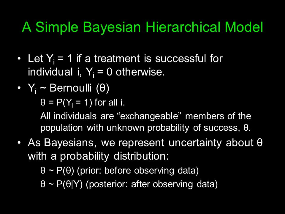 A Simple Bayesian Hierarchical Model Let Y i = 1 if a treatment is successful for individual i, Y i = 0 otherwise. Y i ~ Bernoulli (θ) θ = P(Y i = 1)