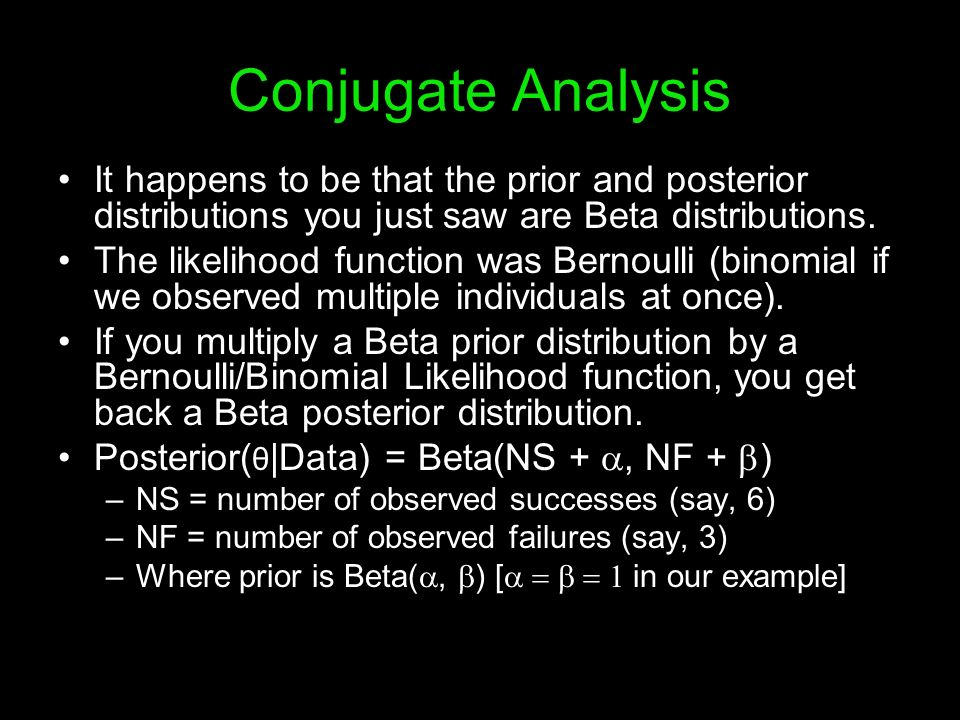 Conjugate Analysis It happens to be that the prior and posterior distributions you just saw are Beta distributions. The likelihood function was Bernou