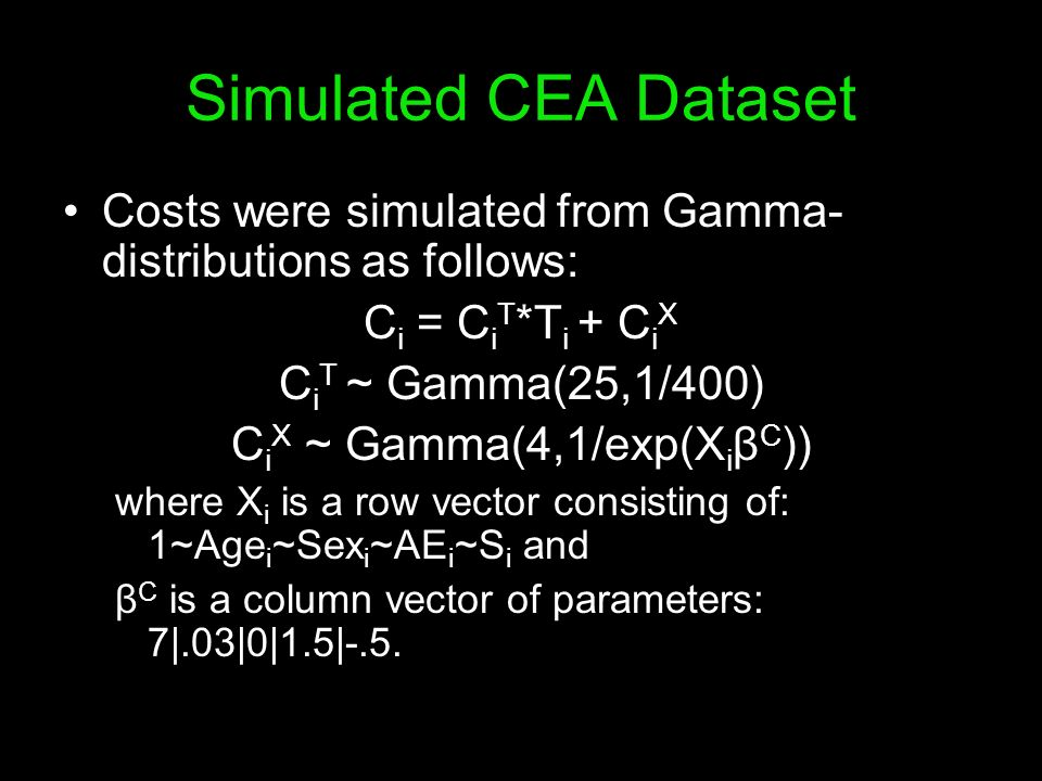 Simulated CEA Dataset Costs were simulated from Gamma- distributions as follows: C i = C i T *T i + C i X C i T ~ Gamma(25,1/400) C i X ~ Gamma(4,1/ex