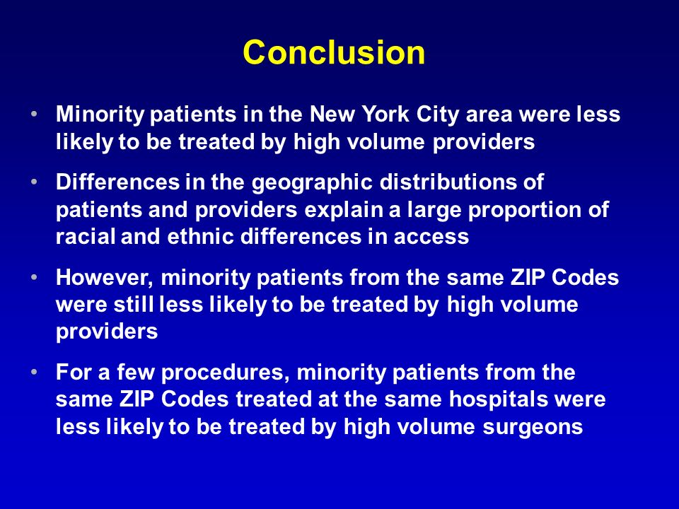 Conclusion Minority patients in the New York City area were less likely to be treated by high volume providers Differences in the geographic distributions of patients and providers explain a large proportion of racial and ethnic differences in access However, minority patients from the same ZIP Codes were still less likely to be treated by high volume providers For a few procedures, minority patients from the same ZIP Codes treated at the same hospitals were less likely to be treated by high volume surgeons