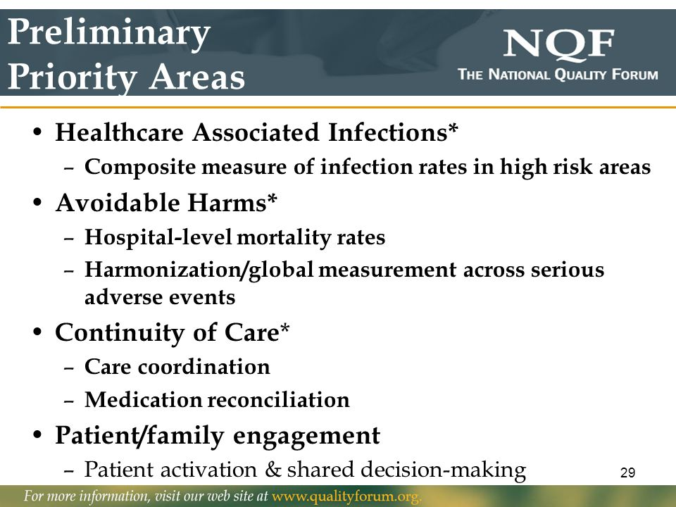 29 Preliminary Priority Areas Healthcare Associated Infections* – Composite measure of infection rates in high risk areas Avoidable Harms* – Hospital-