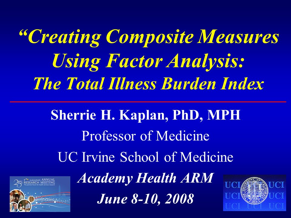 Creating Composite Measures Using Factor Analysis: The Total Illness Burden Index Sherrie H.