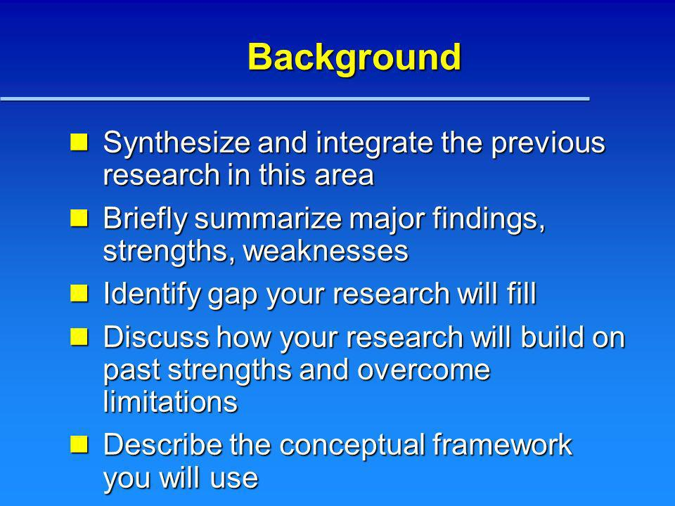 Background Synthesize and integrate the previous research in this area Synthesize and integrate the previous research in this area Briefly summarize m