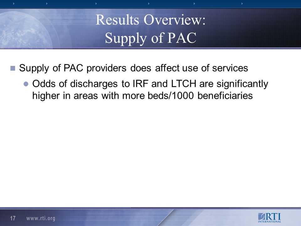 17 Results Overview: Supply of PAC Supply of PAC providers does affect use of services Odds of discharges to IRF and LTCH are significantly higher in areas with more beds/1000 beneficiaries