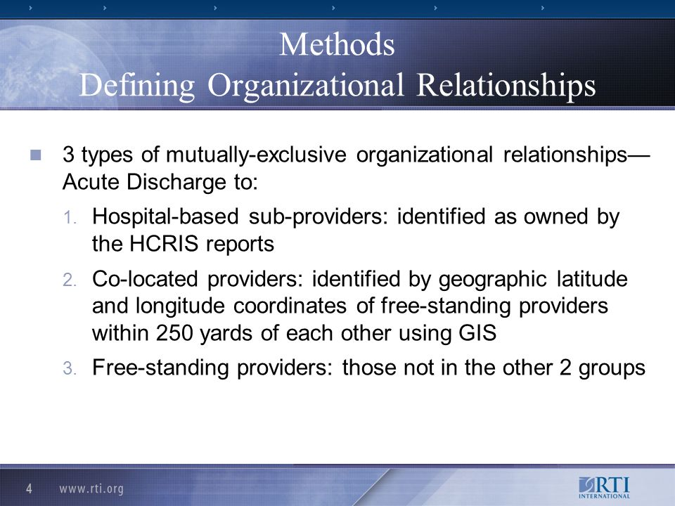 4 Methods Defining Organizational Relationships 3 types of mutually-exclusive organizational relationships Acute Discharge to: 1. Hospital-based sub-p