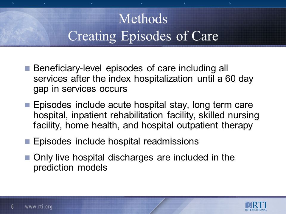 5 Methods Creating Episodes of Care Beneficiary-level episodes of care including all services after the index hospitalization until a 60 day gap in services occurs Episodes include acute hospital stay, long term care hospital, inpatient rehabilitation facility, skilled nursing facility, home health, and hospital outpatient therapy Episodes include hospital readmissions Only live hospital discharges are included in the prediction models