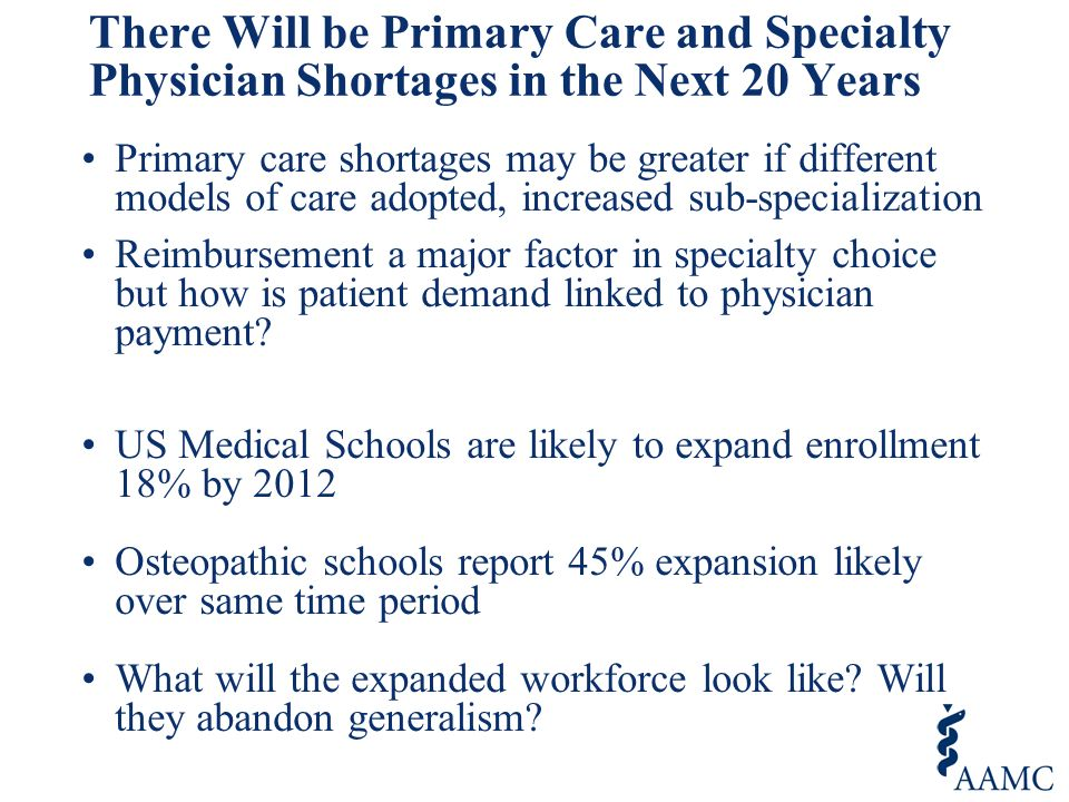 There Will be Primary Care and Specialty Physician Shortages in the Next 20 Years Primary care shortages may be greater if different models of care adopted, increased sub-specialization Reimbursement a major factor in specialty choice but how is patient demand linked to physician payment.