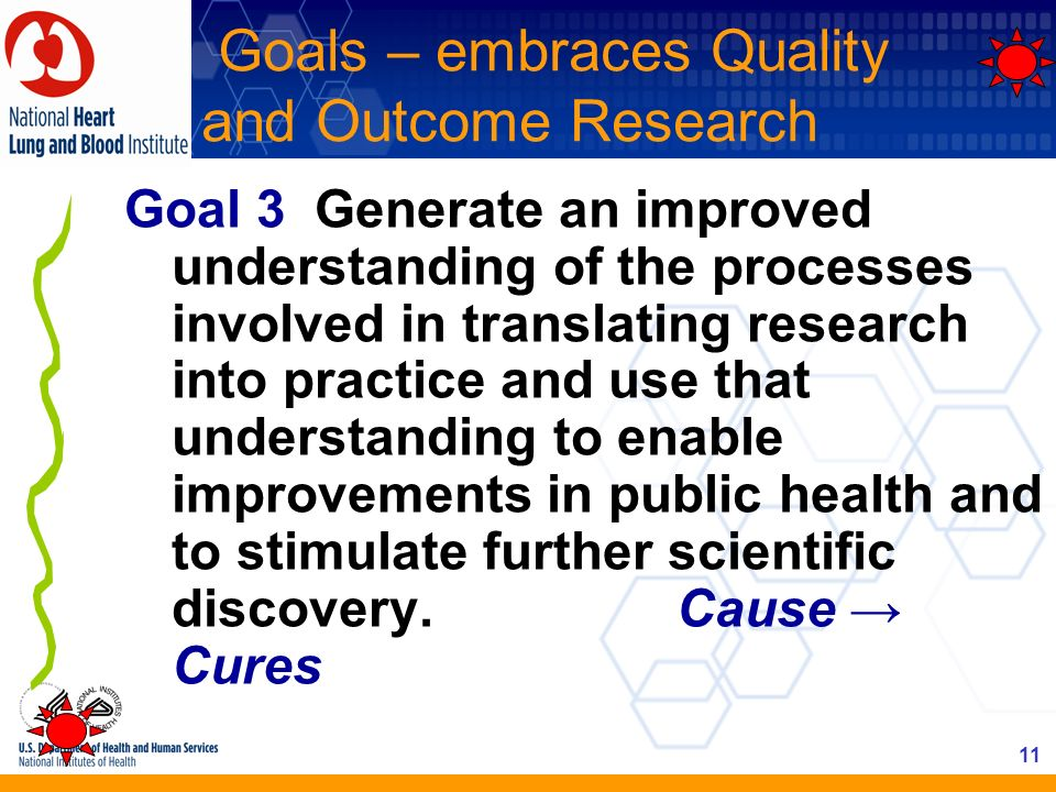 11 Goals – embraces Quality and Outcome Research Goal 3 Generate an improved understanding of the processes involved in translating research into prac