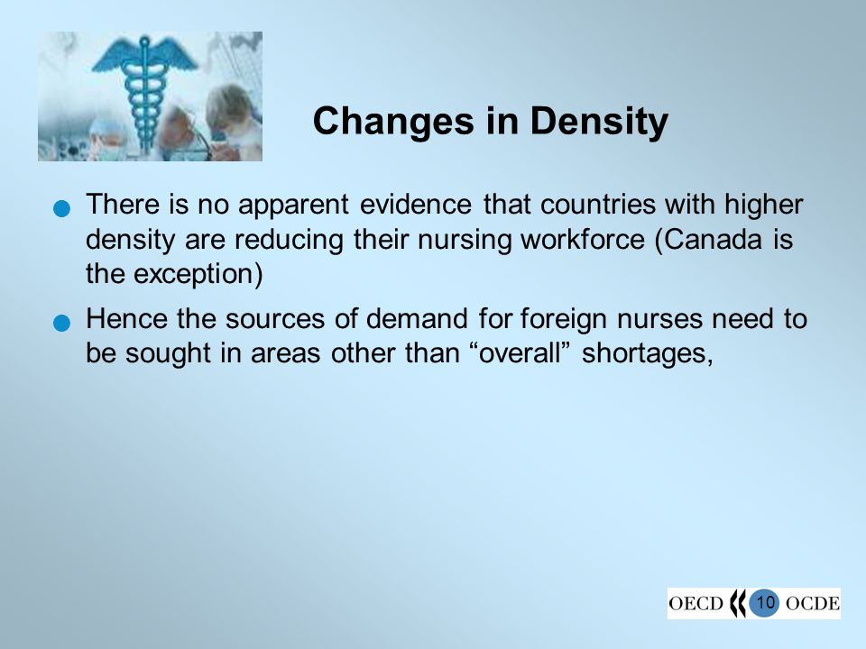 10 Changes in Density There is no apparent evidence that countries with higher density are reducing their nursing workforce (Canada is the exception)