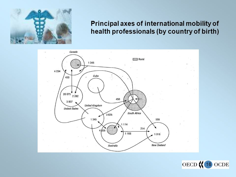 16 Principal axes of international mobility of health professionals (by country of birth)