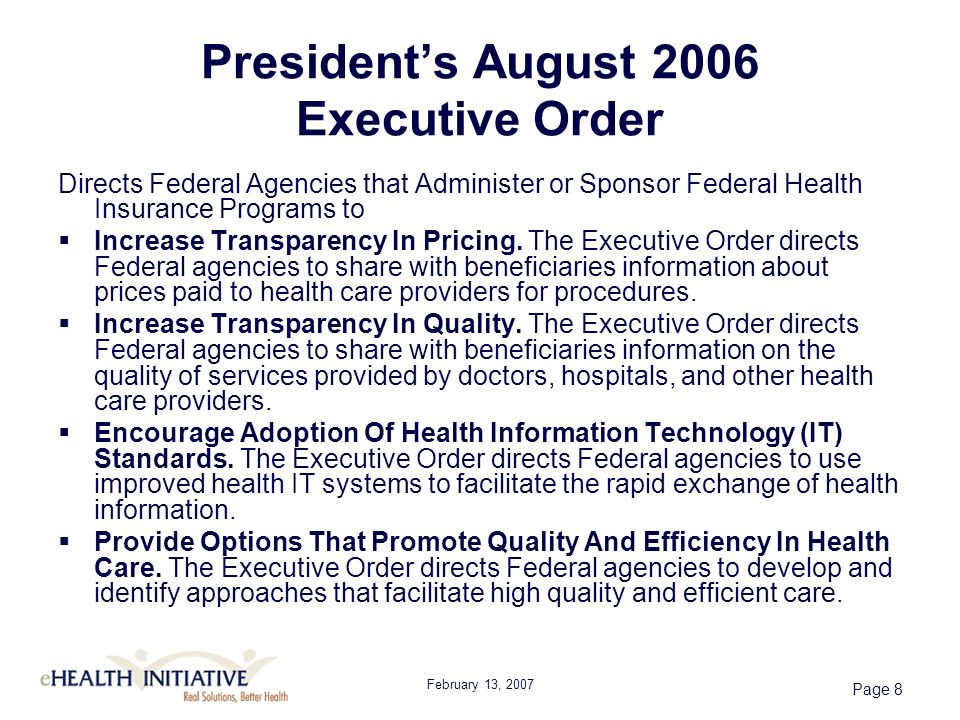 February 13, 2007 Page 29 eHI 2006 Survey Care Management and Quality Reporting Emerging Focus Chronic or Disease Management - 20 percent Quality Performance Reporting for purchasers or payers – 11 percent, with an additional 7 percent expect to provide this service within six months.