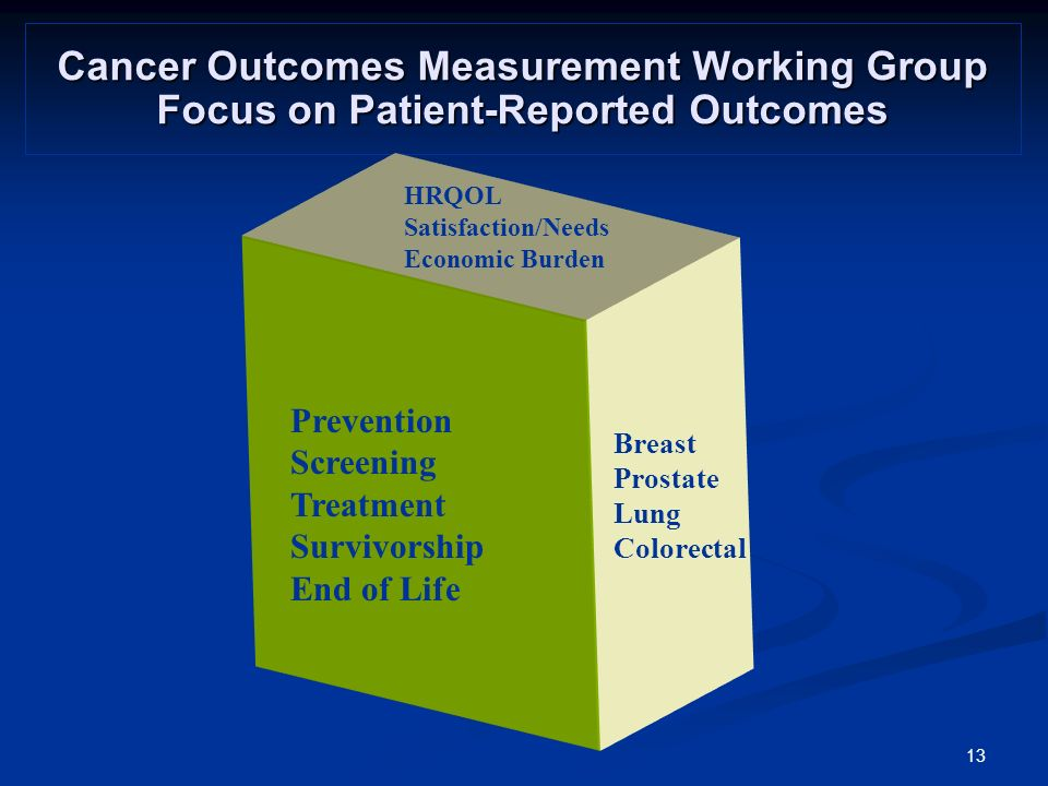 13 Cancer Outcomes Measurement Working Group Focus on Patient-Reported Outcomes Breast Prostate Lung Colorectal Prevention Screening Treatment Survivorship End of Life HRQOL Satisfaction/Needs Economic Burden