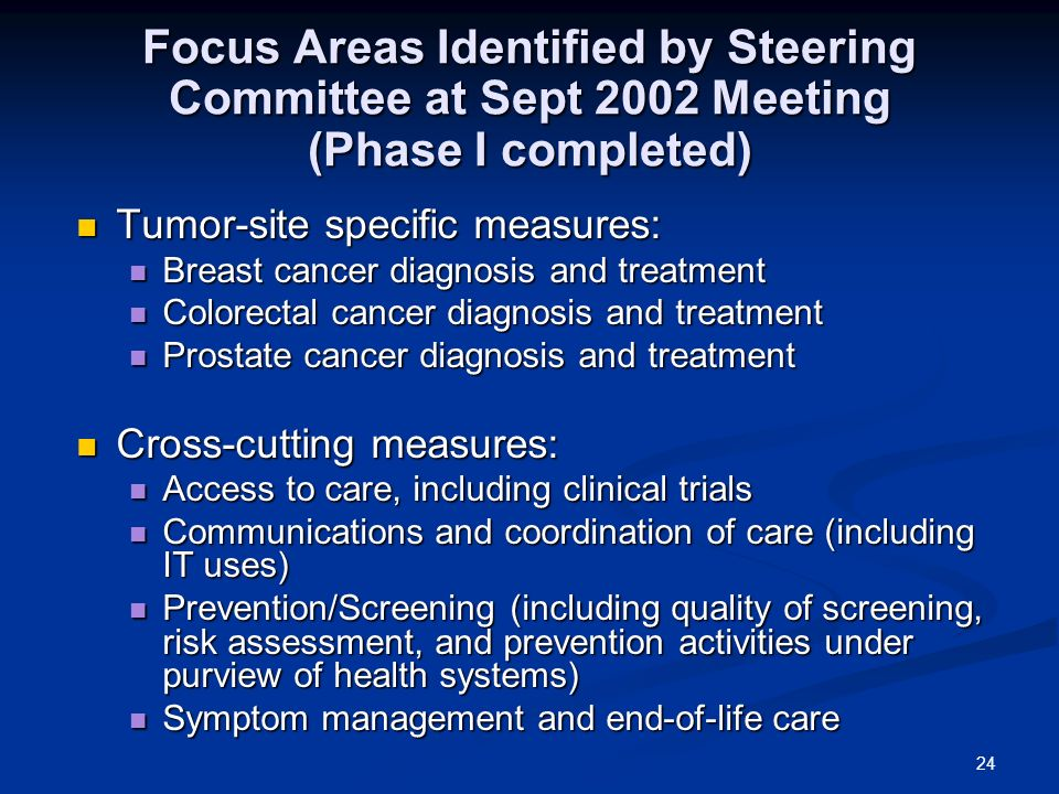 24 Focus Areas Identified by Steering Committee at Sept 2002 Meeting (Phase I completed) Tumor-site specific measures: Tumor-site specific measures: Breast cancer diagnosis and treatment Breast cancer diagnosis and treatment Colorectal cancer diagnosis and treatment Colorectal cancer diagnosis and treatment Prostate cancer diagnosis and treatment Prostate cancer diagnosis and treatment Cross-cutting measures: Cross-cutting measures: Access to care, including clinical trials Access to care, including clinical trials Communications and coordination of care (including IT uses) Communications and coordination of care (including IT uses) Prevention/Screening (including quality of screening, risk assessment, and prevention activities under purview of health systems) Prevention/Screening (including quality of screening, risk assessment, and prevention activities under purview of health systems) Symptom management and end-of-life care Symptom management and end-of-life care