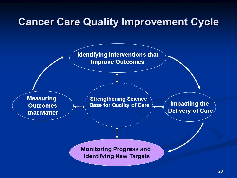 28 Cancer Care Quality Improvement Cycle Measuring Outcomes that Matter Monitoring Progress and Identifying New Targets Impacting the Delivery of Care Identifying Interventions that Improve Outcomes Strengthening Science Base for Quality of Care
