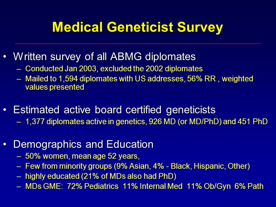Medical Geneticist Survey Medical Geneticist Survey Written survey of all ABMG diplomatesWritten survey of all ABMG diplomates –Conducted Jan 2003, excluded the 2002 diplomates –Mailed to 1,594 diplomates with US addresses, 56% RR, weighted values presented Estimated active board certified geneticistsEstimated active board certified geneticists –1,377 diplomates active in genetics, 926 MD (or MD/PhD) and 451 PhD Demographics and EducationDemographics and Education –50% women, mean age 52 years, –Few from minority groups (9% Asian, 4% - Black, Hispanic, Other) –highly educated (21% of MDs also had PhD) –MDs GME: 72% Pediatrics 11% Internal Med 11% Ob/Gyn 6% Path